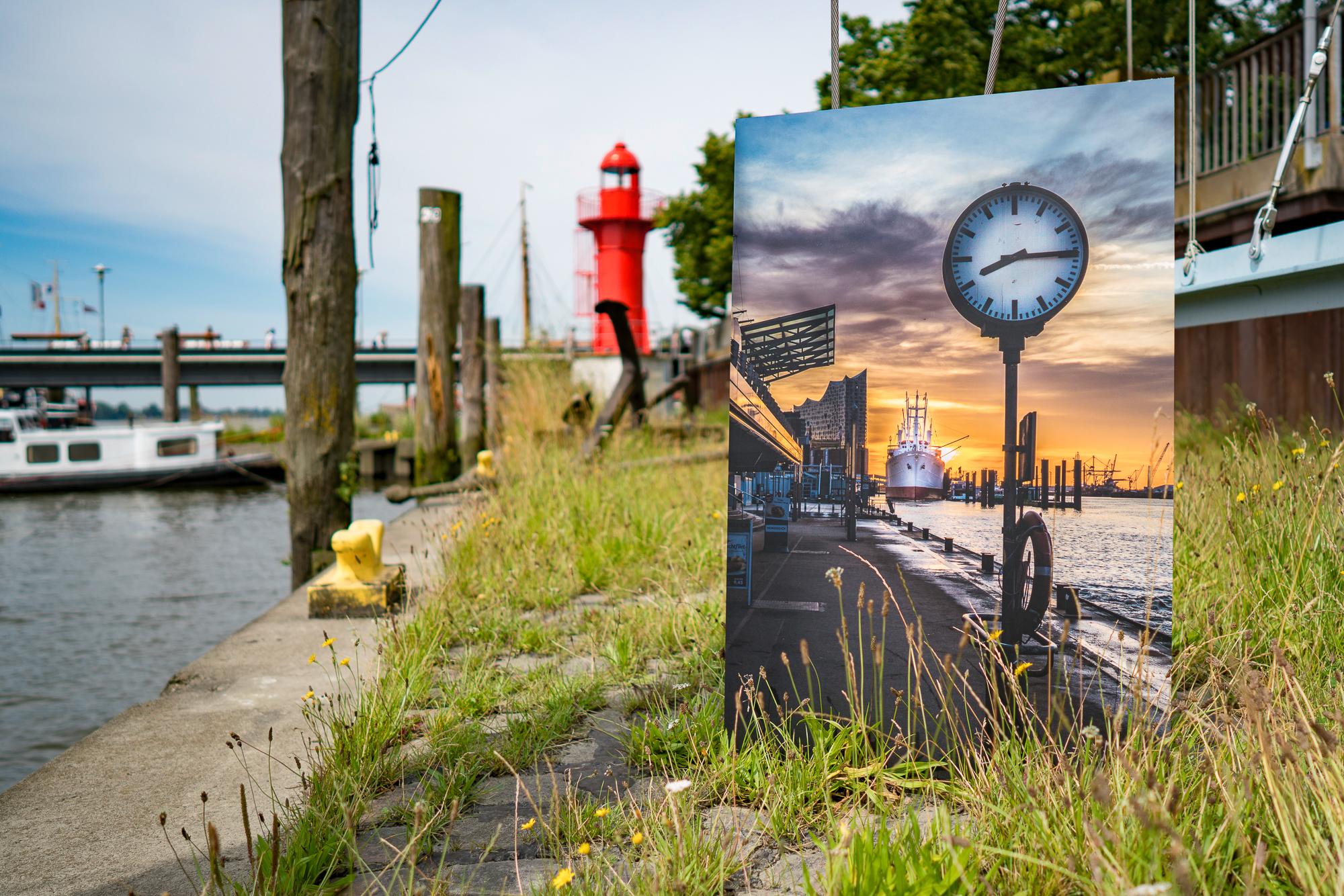 Hamburg Bild von den Landungsbrücken gedruckt auf Aludibond