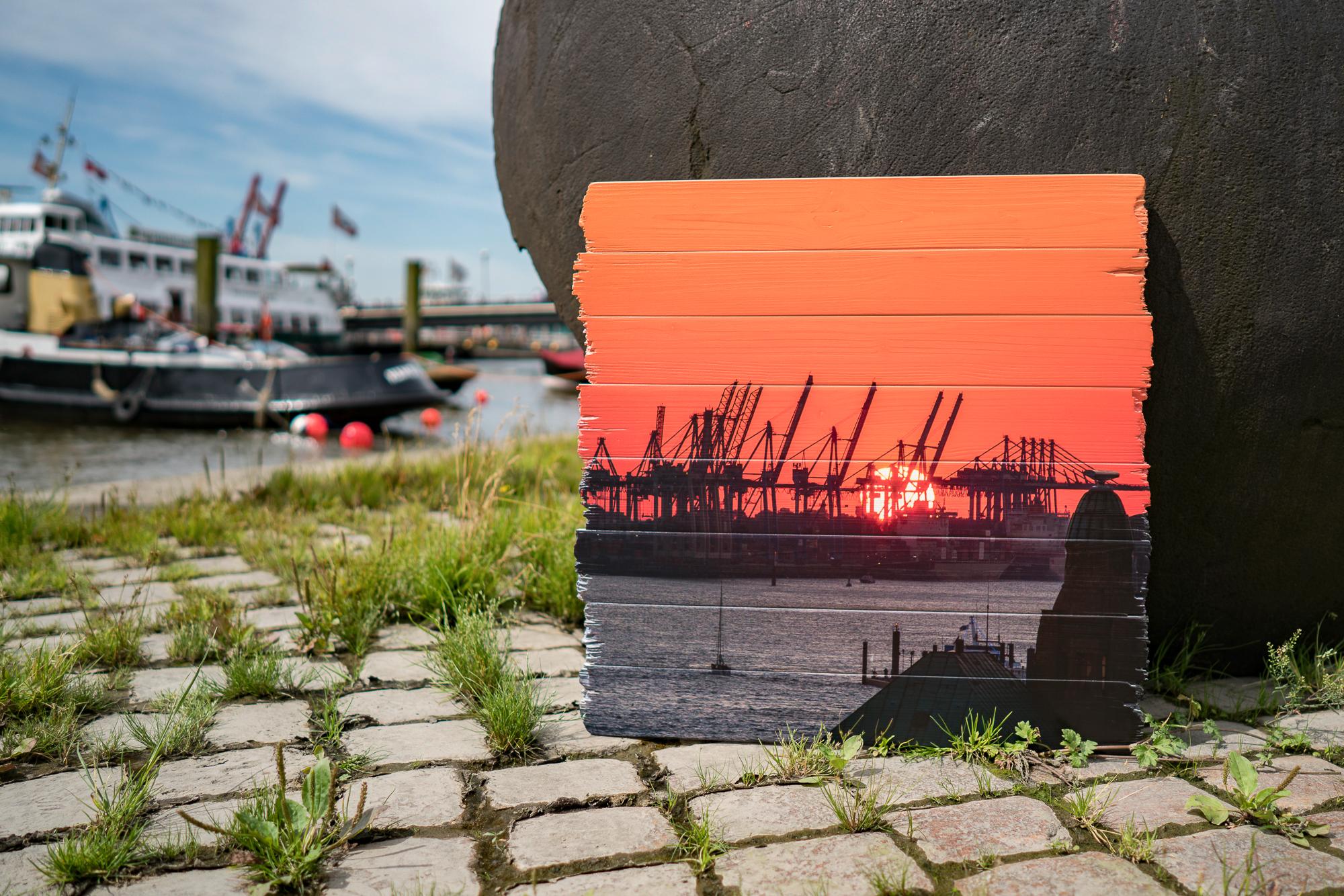 Hamburg Bild auf Holz gedruckt