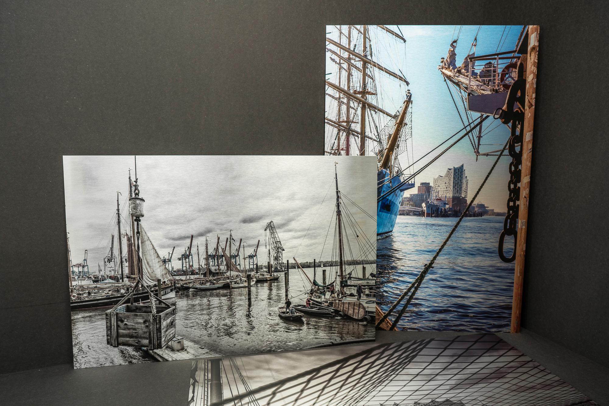 Hamburg Fotos gedruckt auf Aludibond silber gebürstet