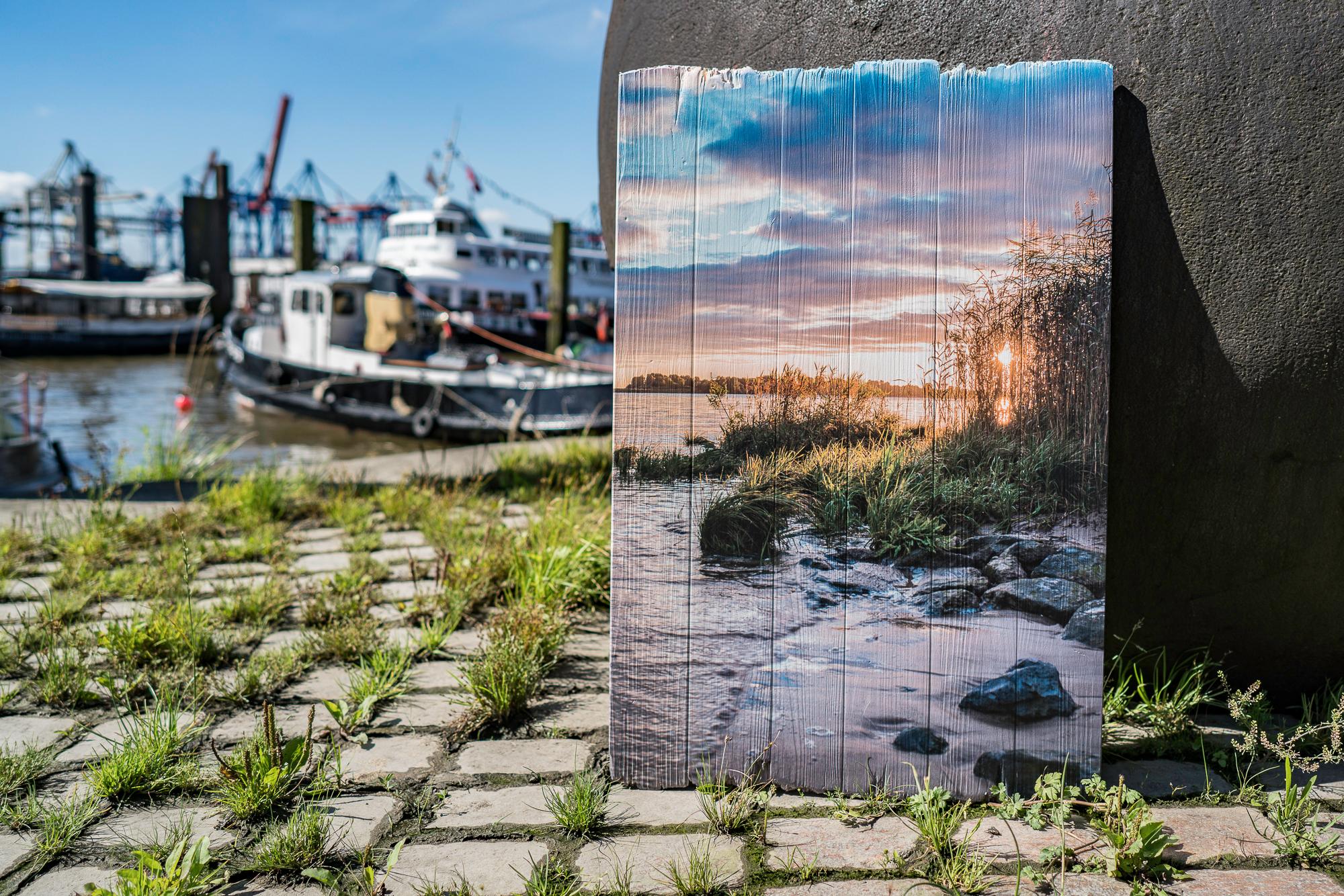 Hamburg Bilder Holzdruck gedruckt auf Lattenholz mit glatten oder gebrochenen Kanten