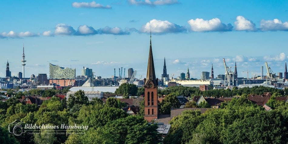 Hamburger Bilderdruck Blick über Hamburg mit der Elbphilharmonie
