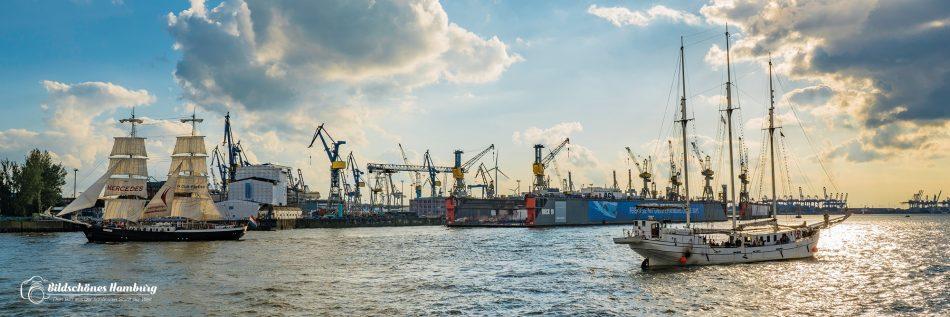 Hamburger Bilderdruck der Segelschiffe Mercedes und Minerva vor dem Dock 10